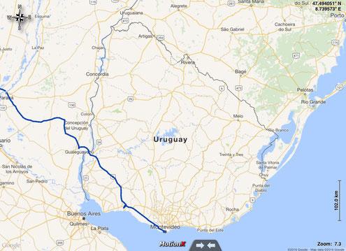 gefahrene Route durch Uruguay