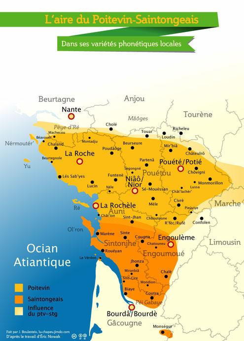 Même carte, en graphie patoisante reflétant la pronociation locale de chaque ville et village.