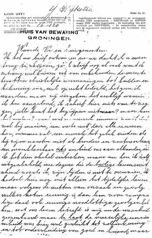 Brief van IJje Wijkstra aan Pieter Veenstra