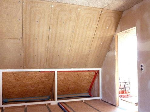 WEM Klimaelement MV - Dachgeschoss - Dachschrägen mit Wandheizungsplatten - Lehmbau Neuhaus