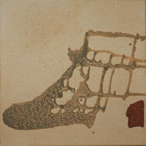 Aus der Reihe Fundstücke, 30 x 30 cm, Urgesteinsmehl, Acrylfarbe, Fundstück