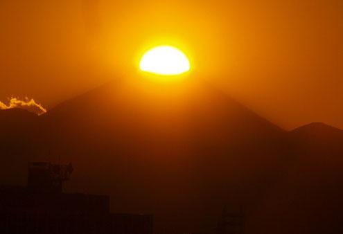 1月25日(2016) 富士山に乗った夕陽:ダイアモンド富士と呼ばれる現象。国立天文台の近くの国分寺崖線の上から