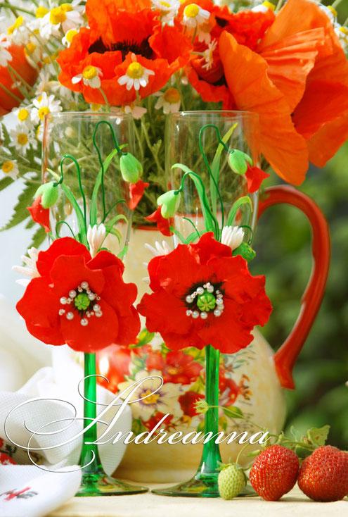 """Свадебные бокалы """"Алый мак"""", авторская техника, полностью ручная работа (возможно выполнение любых желаемых цветов, в любом цвете) стоимость пары 800грн"""