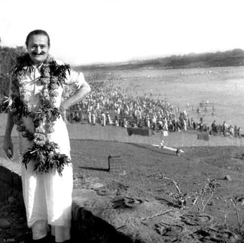 Meher  Baba overlooking the mass pilgrimage at the Chandrabhaga River in Pandharpur, India. 7th November 1954. Image edited by Anthony Zois
