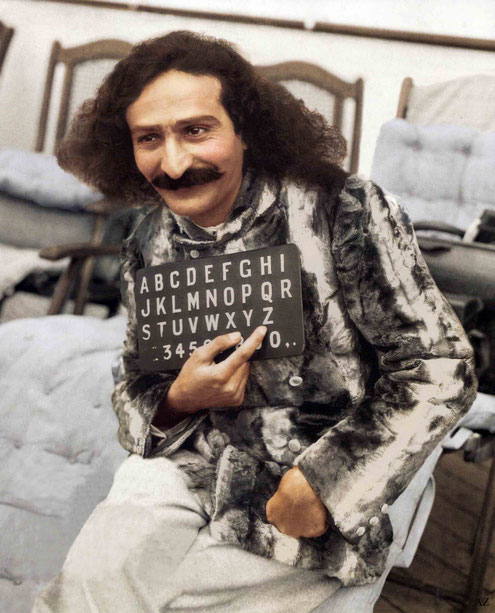 1932 : Meher Baba on the SS Bremen in New York Harbour. Colourized by Cherie Plumlee. Courtesy of Glow International magazine - Fall 2018 cover.