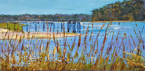 """inlet at Calabash"".  Acrylic on canvas  12""X24"""