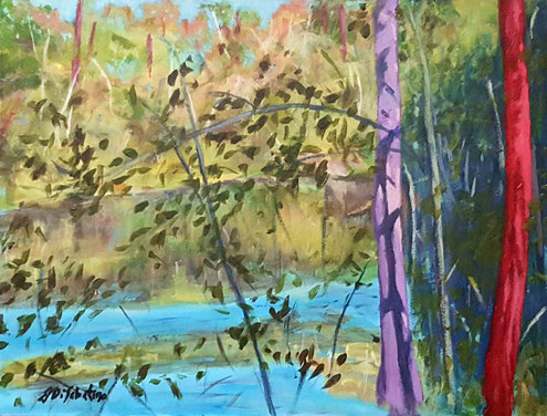 """Buckeye Pond"" . Acrylic on board  12""X16"""