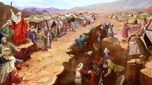 Moïse remet le jugement entre les mains de Dieu qui ouvre la terre pour engloutir les rebelles et consumer par le feu les 250 hommes qui offraient du parfum alors que ce rôle avait été confié aux prêtres, descendants d'Aaron.
