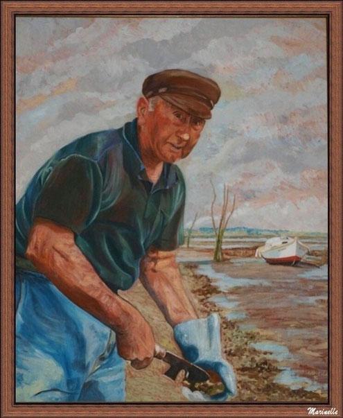 """Jeannot Lagauzère dit """"Larcouy"""" désatrocant des huîtres sur un parc - Tableau d'Esilda Lajoinie, Gujan Mestras (Bassin d'Arcachon)"""