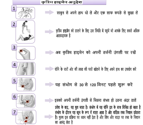 instruction artificial hymen hindi
