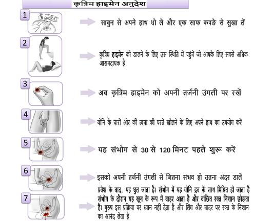instruction artificial hymen hindi