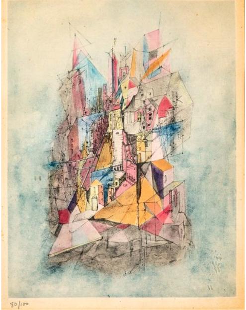 Otto Wols Le navire dans la ville Gravure d'interprétation, aquatinte sur vélin, numérotée sur 100, éditée par Michel Couturier avec l'accord de Gréty Wols 37 x 28 cm (à vue) à la galerie agnes thiebault