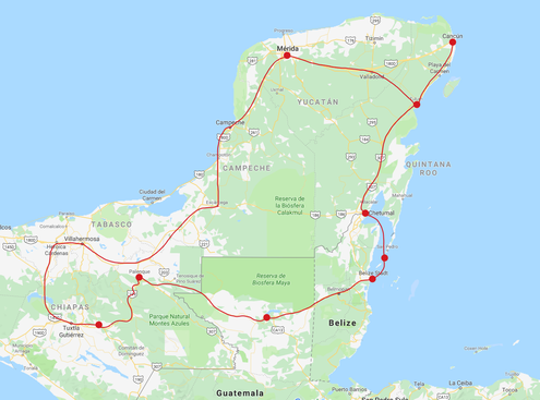 Mexiko Belize Guatemala Route