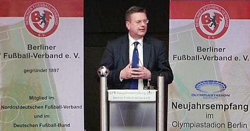 DFB-Präsident Reinhard Grindel beim Neujahrsempfang des Berliner Fußballs. Foto: Enrico Formowitz