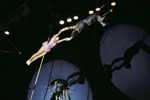 空中ブランコはサーカスの華。華麗な技の数々から目が離せない(木下サーカス提供)