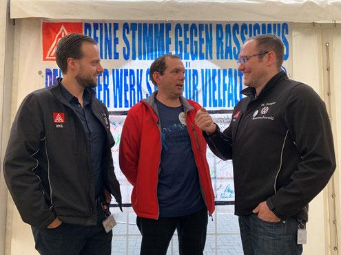 Mark und Kim im Interview mit dem Vertrauensmann Lars Hirsekorn