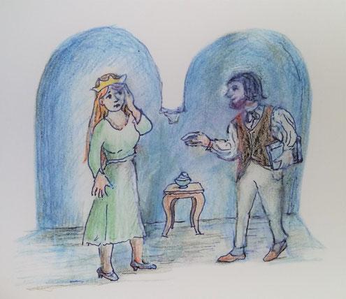 Prinzessin Tee / die Königin mit dem Dichter, der ihr hilft, indem er ein Teeblatt in heißes Wasser wirft