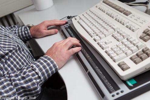 Braillezeile, PC-Tastatur, Foto: Klaus D. Wolf
