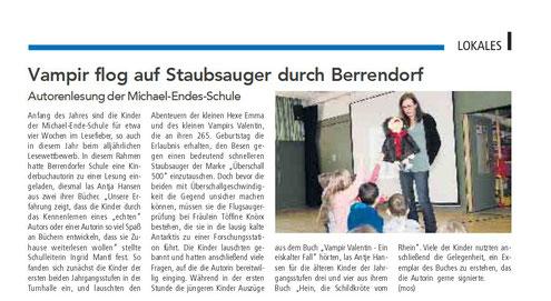 Autorenlesung Antje Hansen in der Michael Ende Schule, Elsdorf