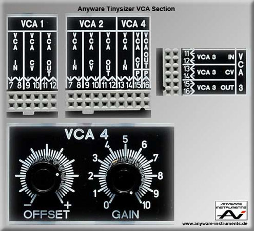 TINYSIZER -  voltage controlled or variable gain amplifier VCA analog modular synthesizer module