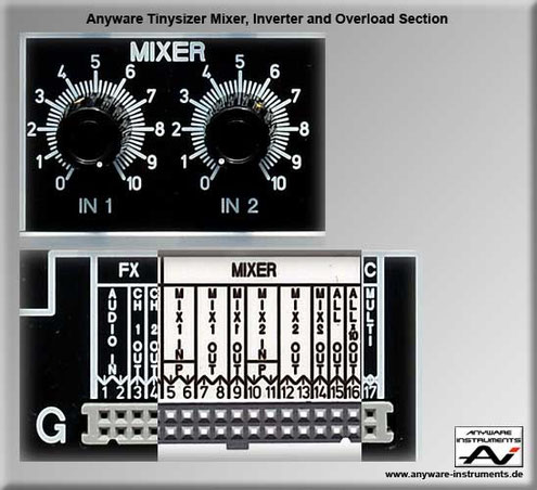 TINYSIZER -  mixer inverter and overload distortion analog modular synthesizer module