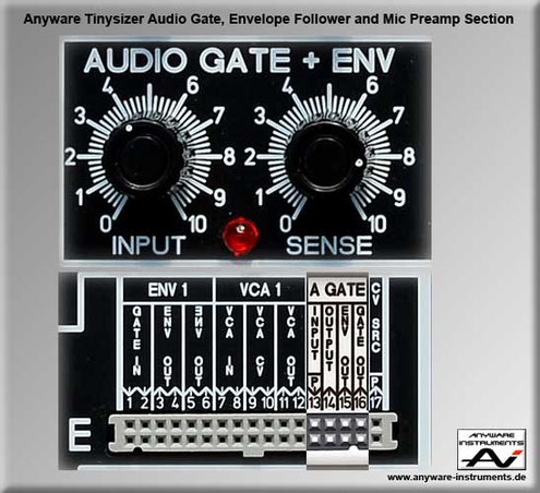 TINYSIZER -  audio gate, envelope follower and microphone preamp analog modular synthesizer module.