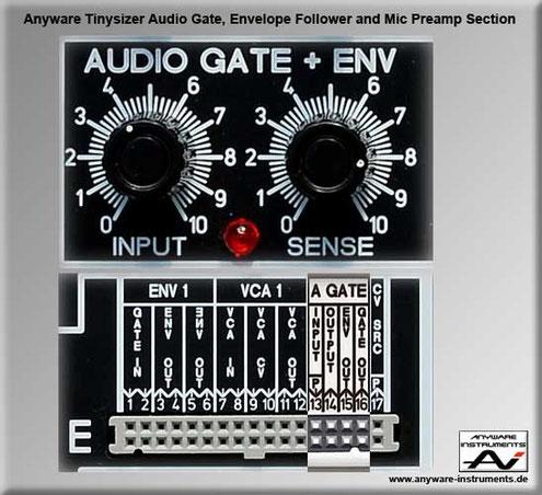 TINYSIZER -  audio gate, envelope follower and microphone preamp analog modular synthesizer module.