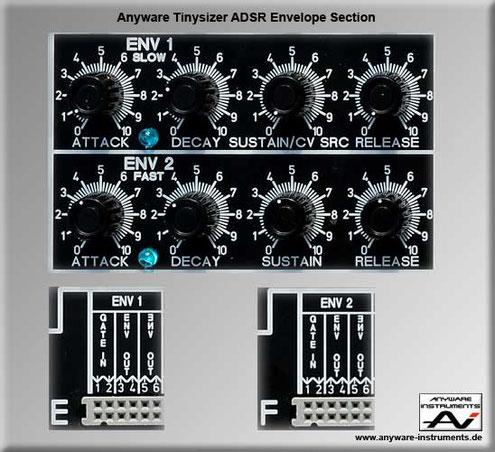 TINYSIZER -  ADSR envelope generator analog modular synthesizer module