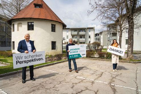 Vlnr: Bernhard Holzer & Reinhard Huber (VAWIS), Roberta Striedinger (Caritas)