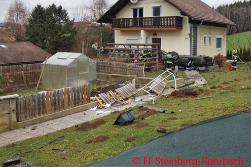 Feuerwehr; Blaulicht; FF Steinberg-Rohrbach; Unfall; PKW; Garten; L301;