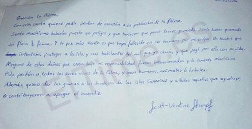 Brief von Scott, dedm Feuerteufel von La Palma