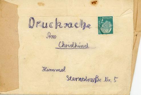 Briefumschlag für meinen Wunschzettel, gebastelt aus Papierresten - leider ohne Inhalt - ca. 1952