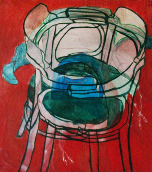 """Eva Hradil """"Salsa"""" 2011 Eitempera auf Halbkreidegrund auf LW, 90 x 80 cm"""