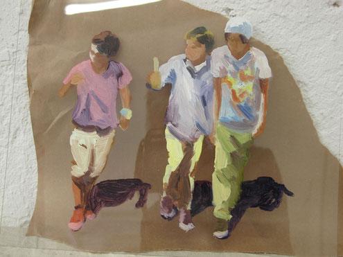 Heike Ludewig, painting, gemälde, drei Jungs