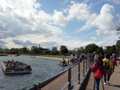 Touristen an der kleinen Meerjungfrau in Kopenhagen