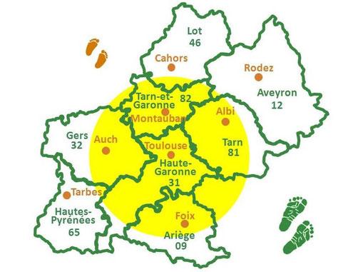 (31) Haute-Garonne, (32) Gers, (81) Tarn, (82) Tarn-et-Garonne, (09) Ariège.