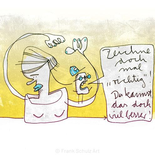 Digital kolorierte Zeichnung mit zwei Figuren zum Thema Selbstkritik