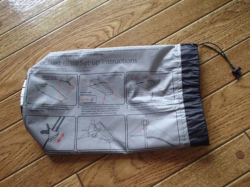 外袋に設営方法が記載されている