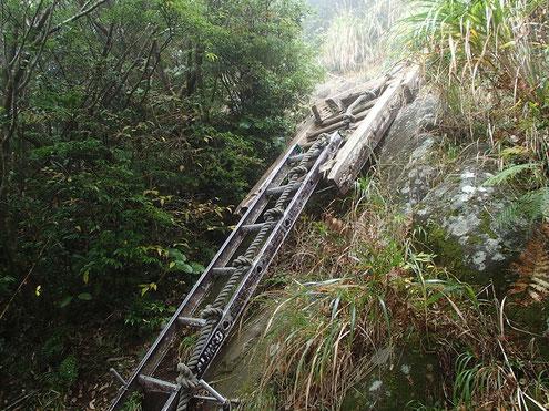 開聞岳の梯子