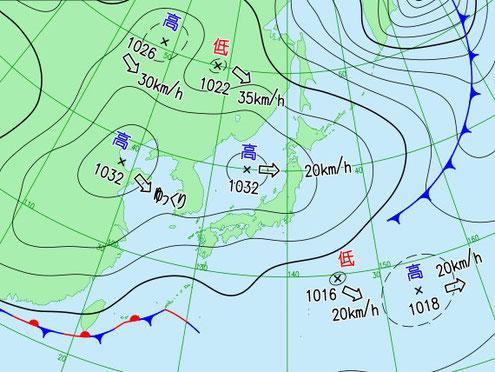 当日12時の天気図