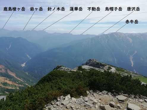 薬師岳山頂より赤牛岳方面の山々