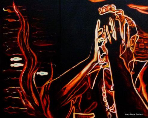 Inventaire de l'horreur, le cri des Innocents - Dyptique, peinture huile sur toile 105x80cm - Peinture de Jean-Pierre Beillard