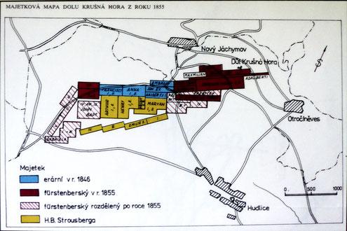 Lage der Grubenfelder nach Besitzern zum Jahr 1855: blau = staatlich / rot = Fürstenberg / gelb = Stousberg. (Quelle: Infotafel vor Ort)