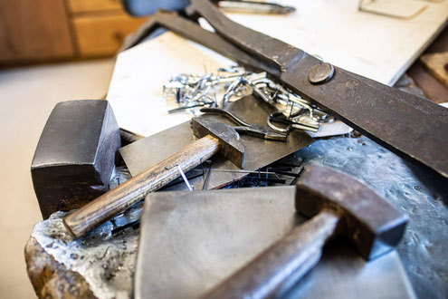 Old hand tools for jaw harps production by hand according to old craft tradition
