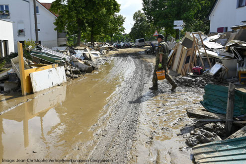 Consequences of flooding in Ahrweiler, Germany 2021
