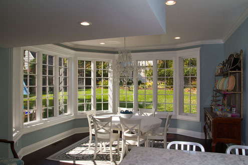 Breakfast nook addition overlooking the backyard.