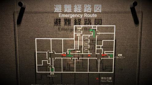 某(5)項イ ホテルにて見かけたアクリル製の避難経路図