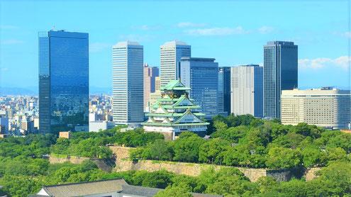 大阪市中央区ビジネスパークと大阪城