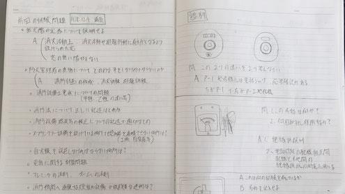 石塚社員が提出してくれた甲4問題&答案ノート。