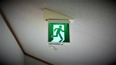 傾斜のある天井に設置された避難口誘導灯